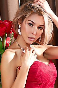 Elegant Asian Babe In Red Dress