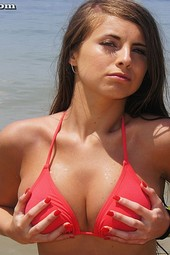 Busty Brunette Sarah Topless At The Beach